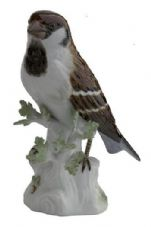 Meissen Porcelain Bird Figurine - Sparrow